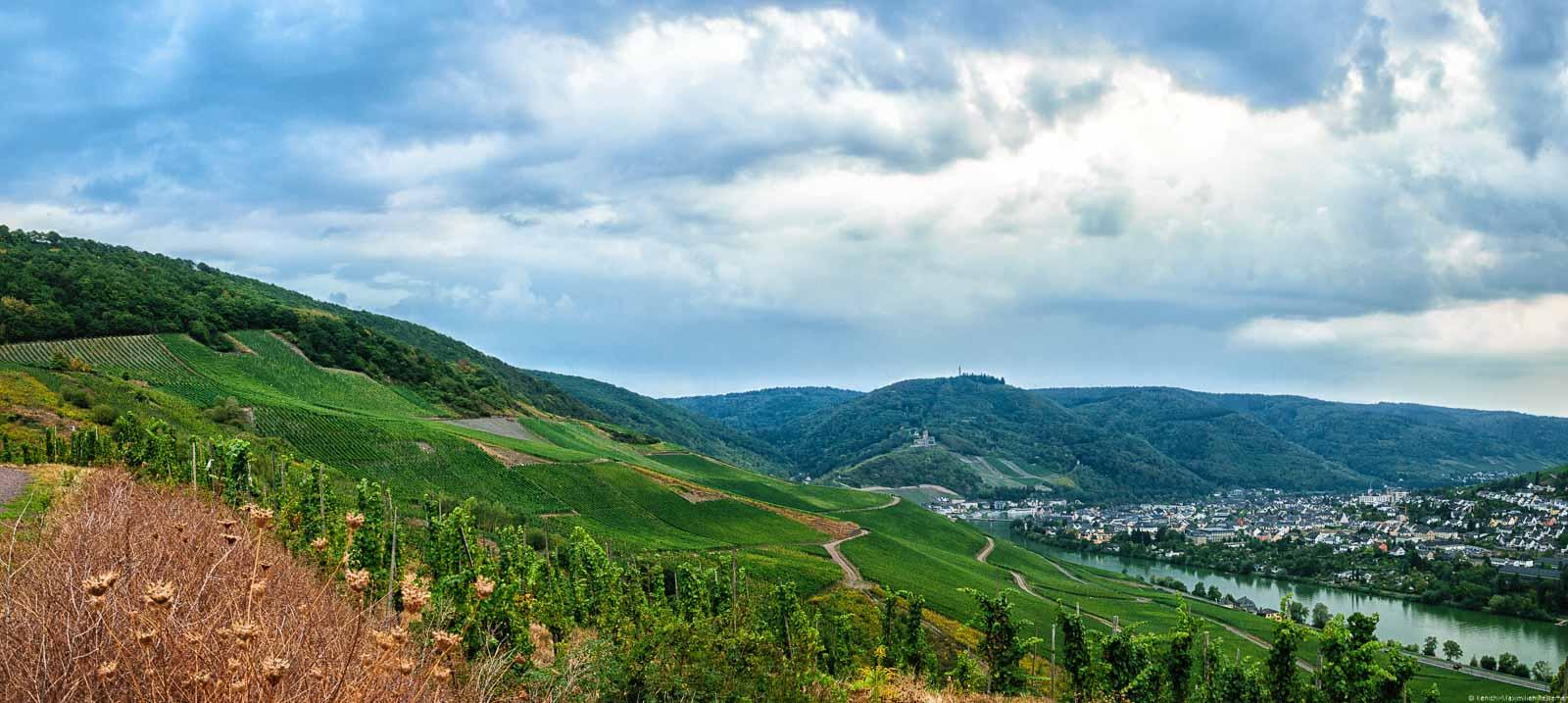 Man blickt auf den Weinberg Bernkasteler Johannisbrünnchen. Unten rechts fließt die Mosel. An den Ufern der Mosel befinden sich die Häuser des Ortes Bernkastel-Kues. Dort liegt auch die Burg Landshut auf einem Hügel. Im Hintergrund sind bewaldete Hügel, und große Wolken am Himmel.