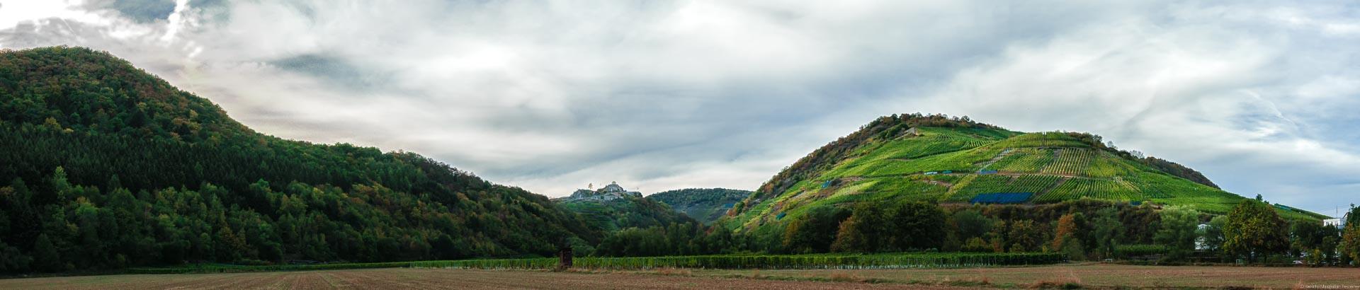 Im Hintergrund im Ahrtal erblickt man die Saffenburg. Rechts daneben liegt der Recher Herrenberg.