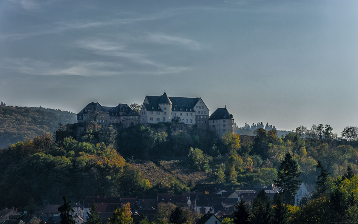 Hoch über Bad Münster am Stein liegt die Ebernburg. Sie befindet sich auf einem bewaldeten Felsen. Der Himmel ist blau-grau.