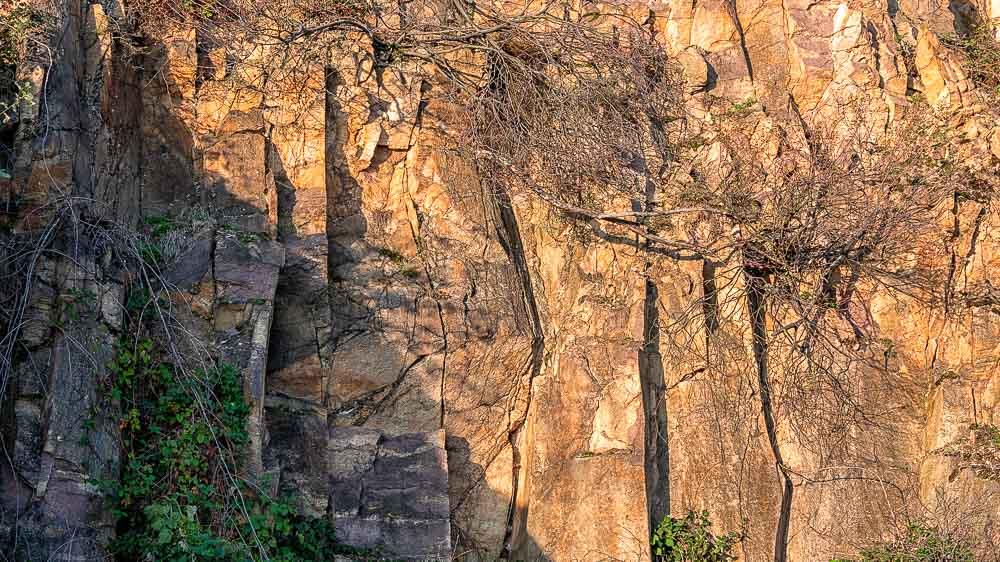 Dies ist typisches Porphyr-Gestein mit seinen verschiedenen farblichen Ausprägungen im Weinanbaugebiet Rheinhessen