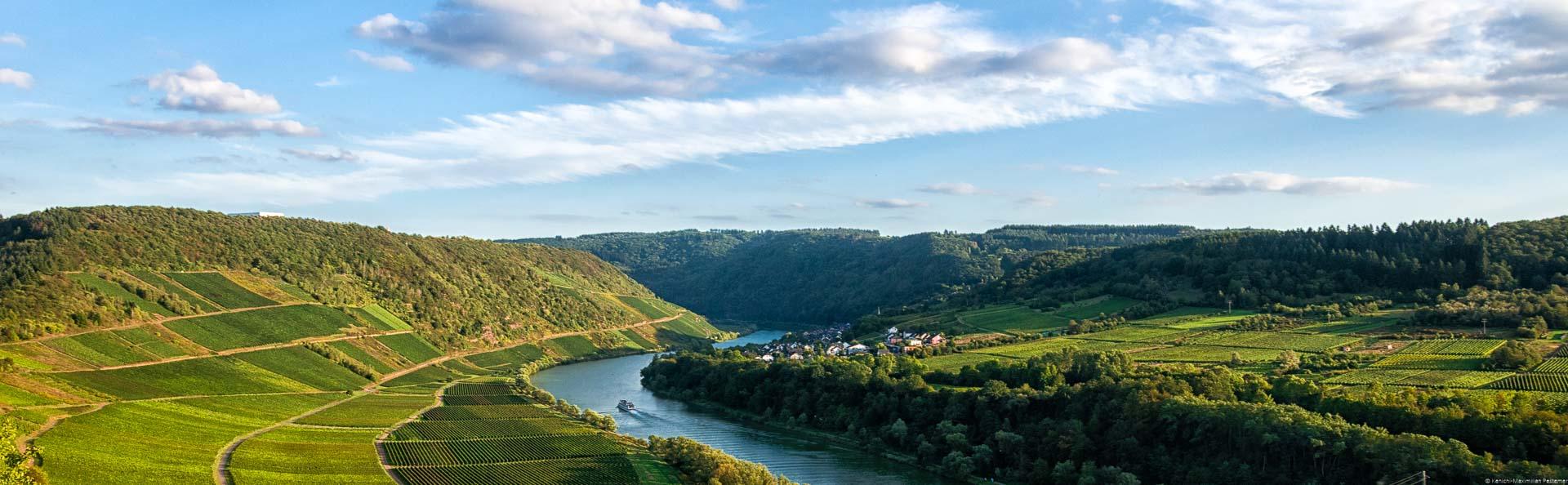 In der Mitte fließt die Mosel. Auf beiden Seiten des Flusses befinden sich Weinberge u.a. das Briedeler Herzchen. Im Hintergrund befindet sich der Ort Briedel.