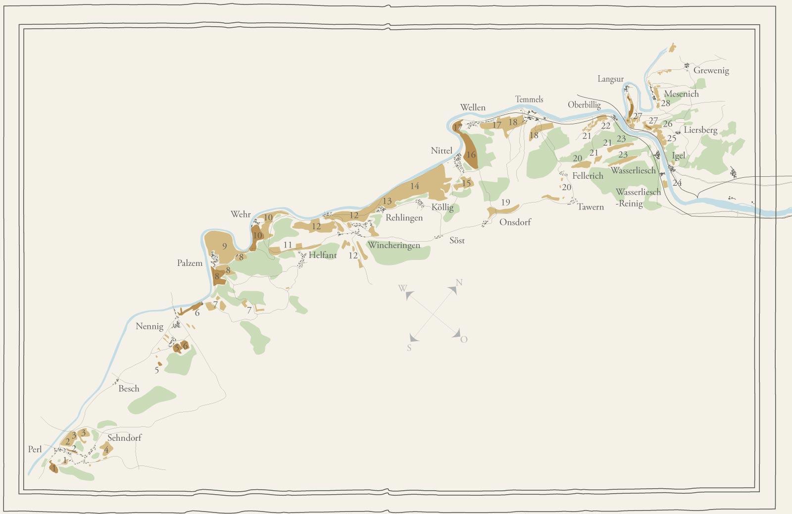 Weinbaukarte der Obermosel und des Moseltores im Stile des 19. Jahrhunderts
