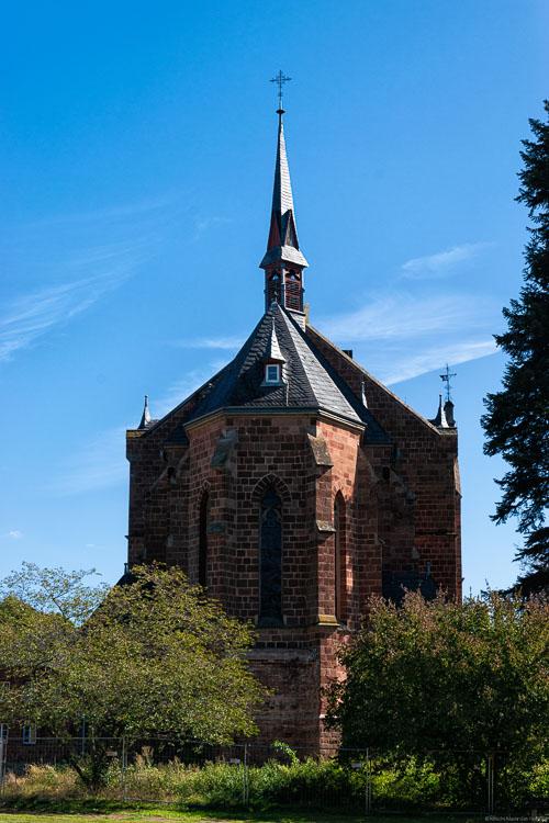 Kirche mit Bäumen im Ort Olewig