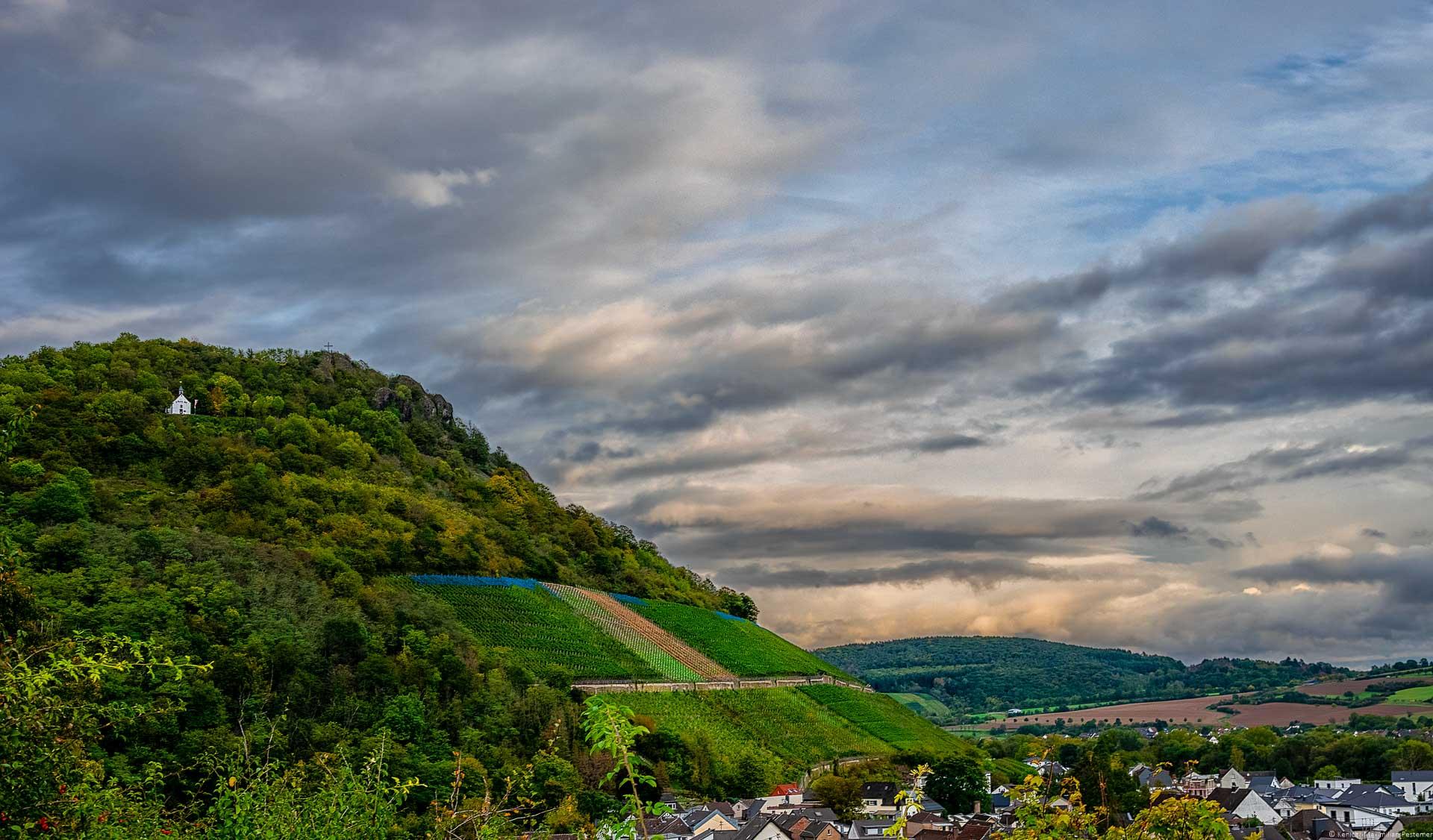 Steiler Weinberg Heimersheimer Burggarten im Ahrtal beim Sonnenuntergang. Oben auf dem Hang links befindet sich ein alter Vulkankegel. Am Abendhimmel befinden sich viele Wolken. Unten recht liegt der Ort Heppingen.