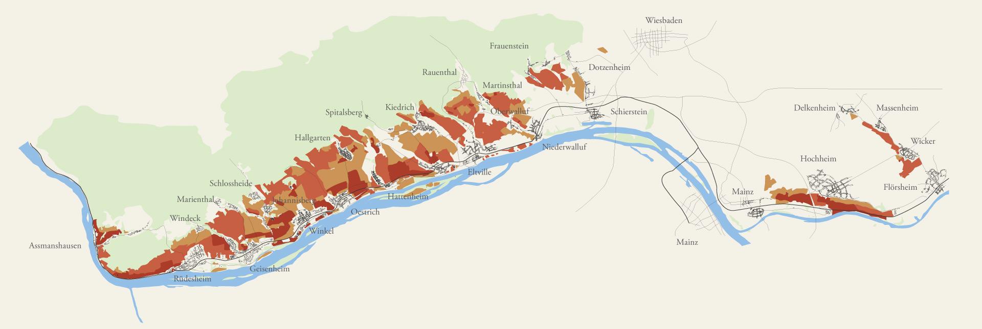 Karte der Weinberge im Rheingau