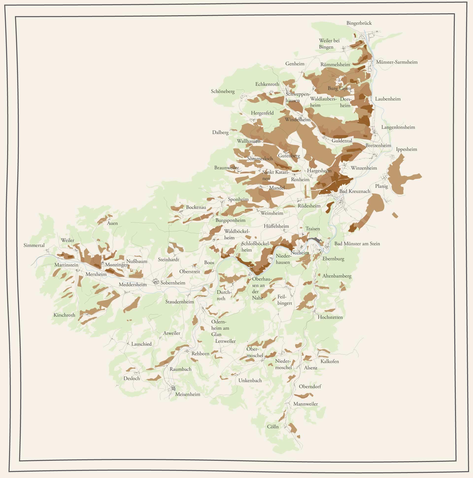 Karte der Weinberge der Weinregion Nahe.