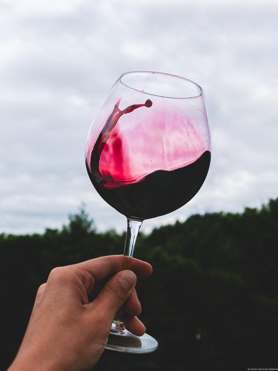 Glas Merlot-Rotwein wird vor Wald und Himmel im Hintergrund geschwenkt. Es handelt sich um einen trockenen Rotwein.