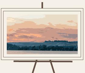 """""""Wein Bild"""" eines Weinbergs auf Bildständer. Das Bild wurde aus einem """"Wein Foto"""" gemacht."""