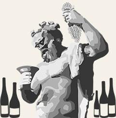 Gott mit Weinen: Illustration einer Dionysus- aka Bacchus-Statue beim Weintrinken und mit Weinflaschen am Boden.
