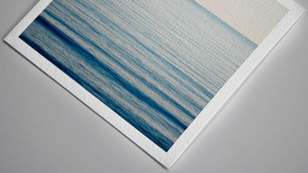 Hahnemühle William Turner 2 Druckmaterial Vinaet Beispiel Meereswellen in blau