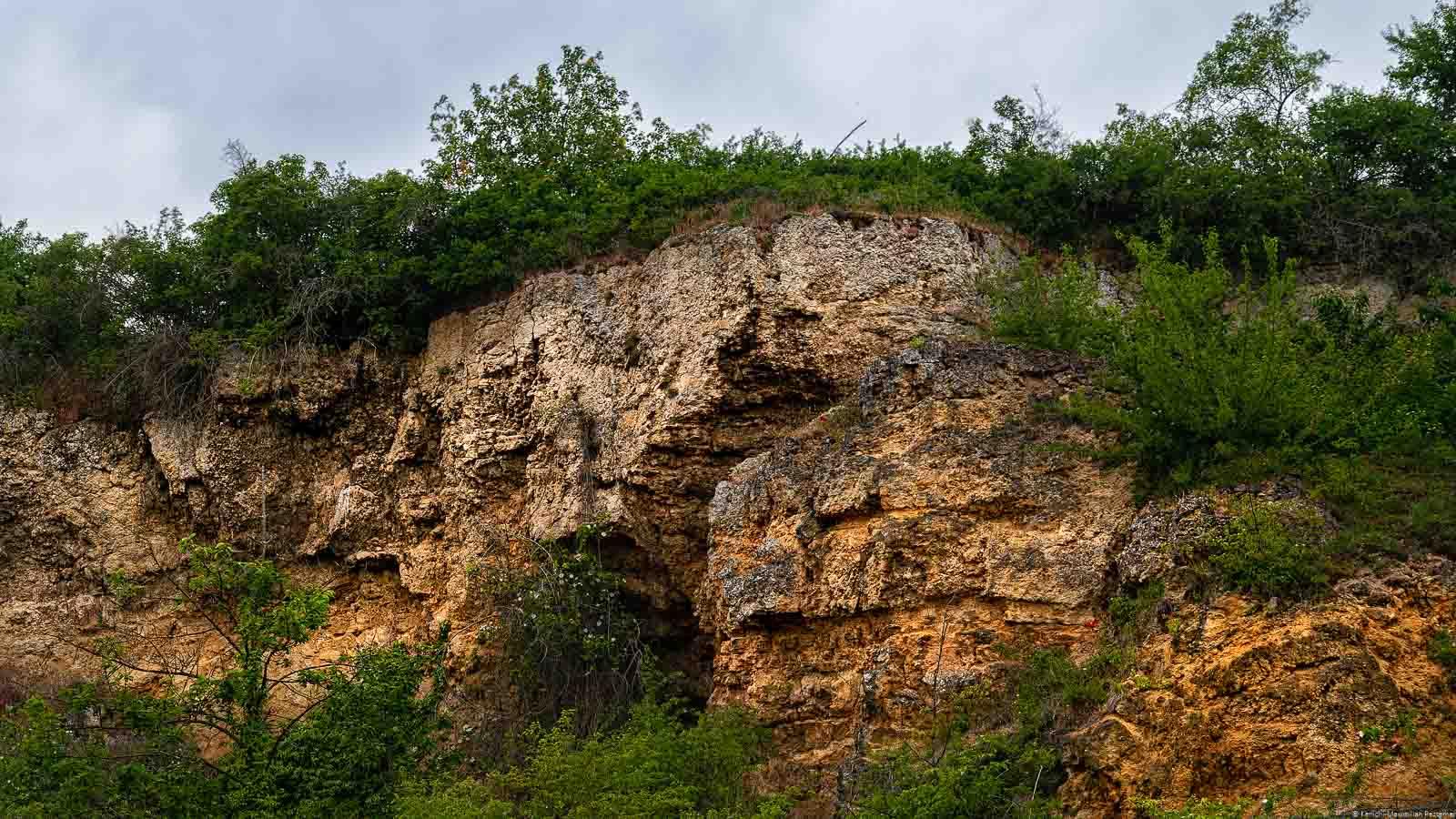 Auf dem Bild erkennt man ein Muschelkalkmassiv in der Weinregion Pfalz beim Ort Kallstadt. Auf dem Massiv sind Büsche. Oben sind Wolken am dunklen Himmel.