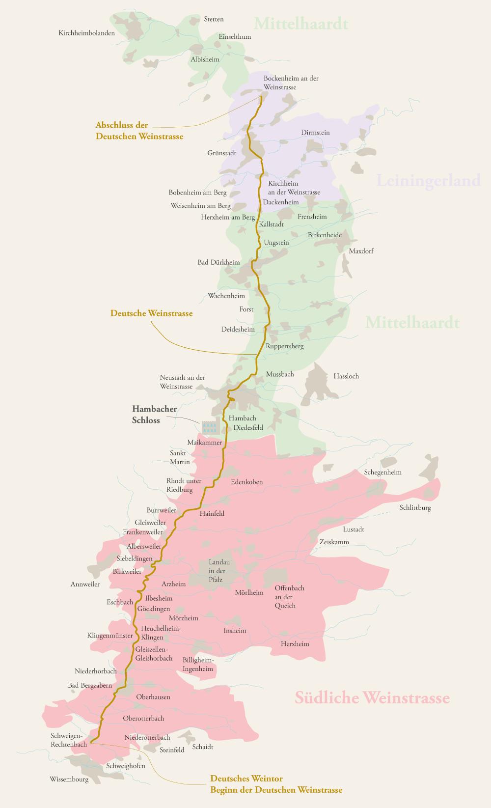 Weinbau-Karte der Weinregion Pfalz mit den Bereichen Südliche Weinstraße, Mittelhaardt und Leiningerland sowie der Deutschen Weinstrasse und dem Hambacher Schloss