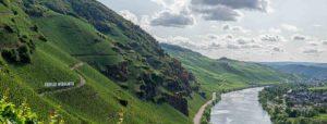 Links erkennt man den Weinberg Ürziger Würzgarten. Rechts unten im Bild fließt die Mosel. Am gegenüberliegenden Ufer der Mosel befindet sich der Ort Erden. Im Hintergrund sind weitere Weinberge und bewaldete Hügel sowie Wolken am grau-blauen HImmel.