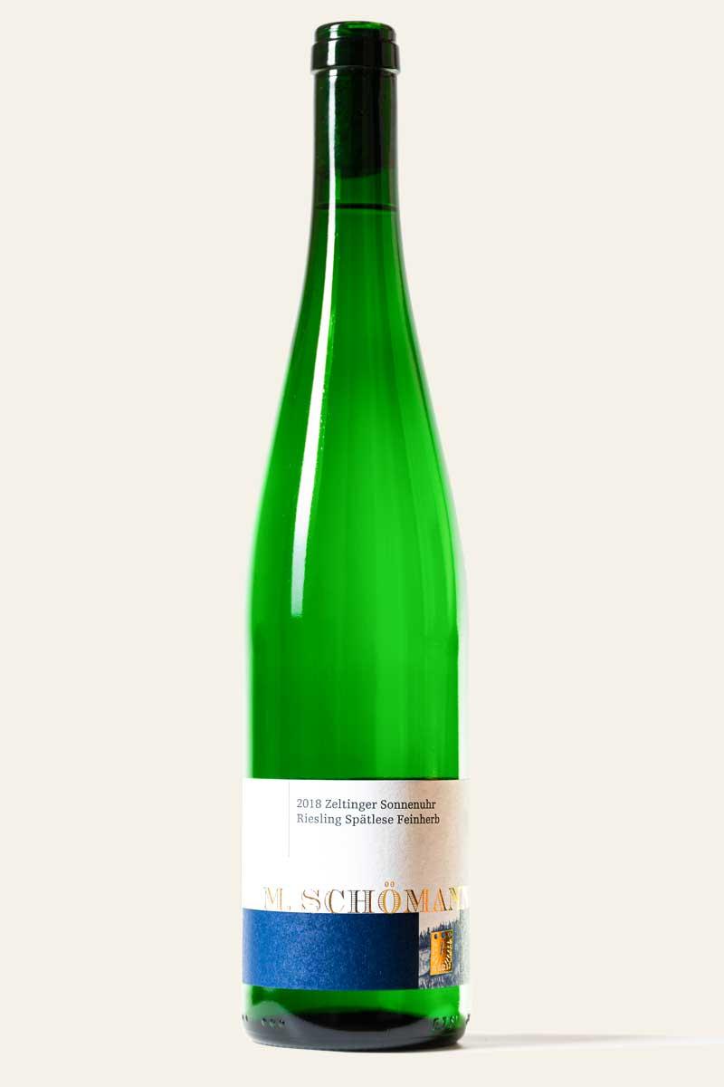 """M. Schömann Zeltinger Sonnenuhr Riesling Spätlese """"Felsen"""" feinherb 2018 BIO in grüner Weinflasche"""