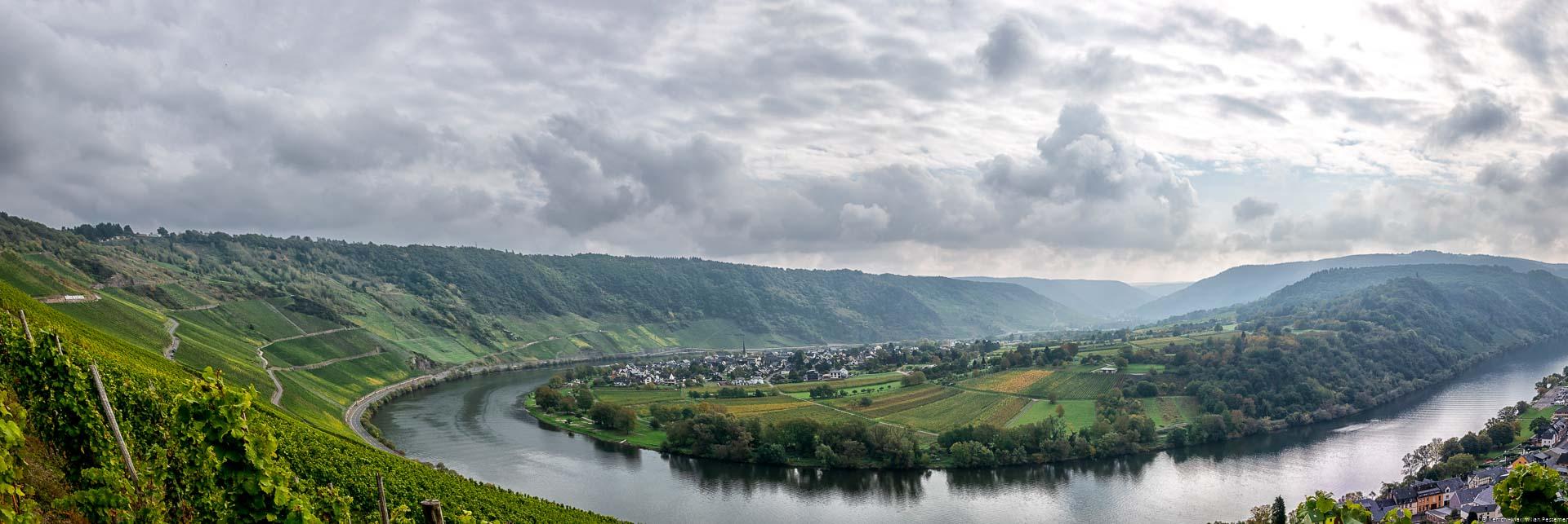 In der Bildmitte befindet sich eine Halbinsel innerhalb der Moselschleife bei Kröv und Wolf. Der Ort Wolf liegt auf der Halbinsel. Der Weinbauort Kröv liegt auf der rechten Seite. An Links und rechts befinden sich Weinbergen und Wälder an steilen Hängen. Im Hintergrund liegt der Ort Traben-Trarbach. Der Himmel ist stark bewölkt.