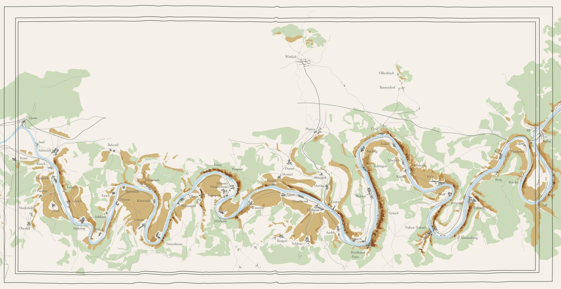 Mittelmosel Karte auf der man Weinberge erkeent. Die Weinbaukarte basiert auf den Lagen-Klassifikationen des 19. Jahrhunderts. Man erkennt den Fluss Mosel, Dörfer, Straßen und Wälder.