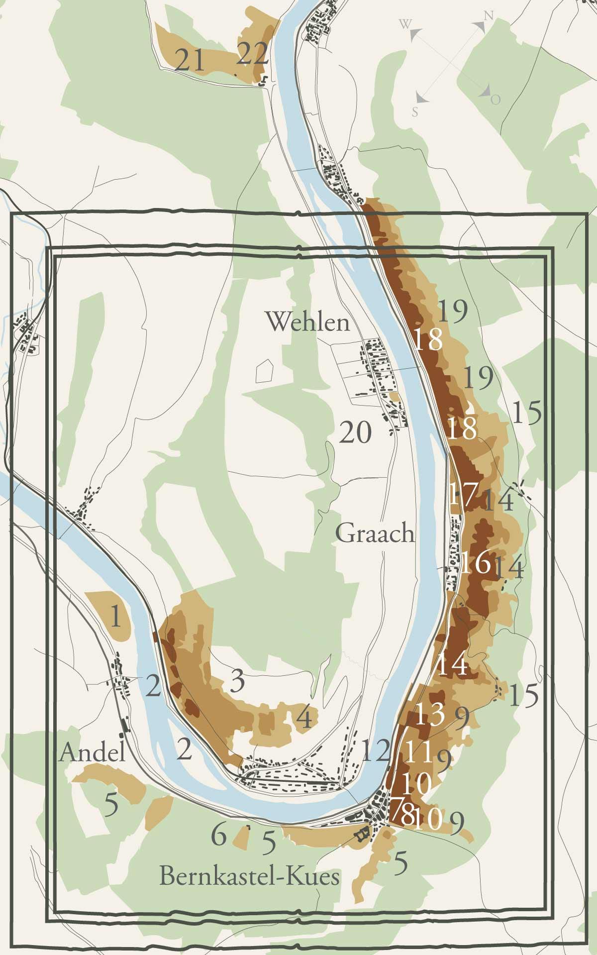 Weinbau-Karte des Ortes Bernkastel-Kues, Andel, Graach und Wehlen. Es sind alle Weinberge in der Gegend eingezeichnet.