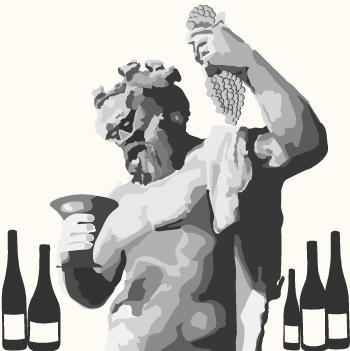 Vektoerisierte Statue des Weingutes Bachus / Dionysus mit Weinkrug und Traube in den Händen. Links und rechts stehen Weinflaschen.