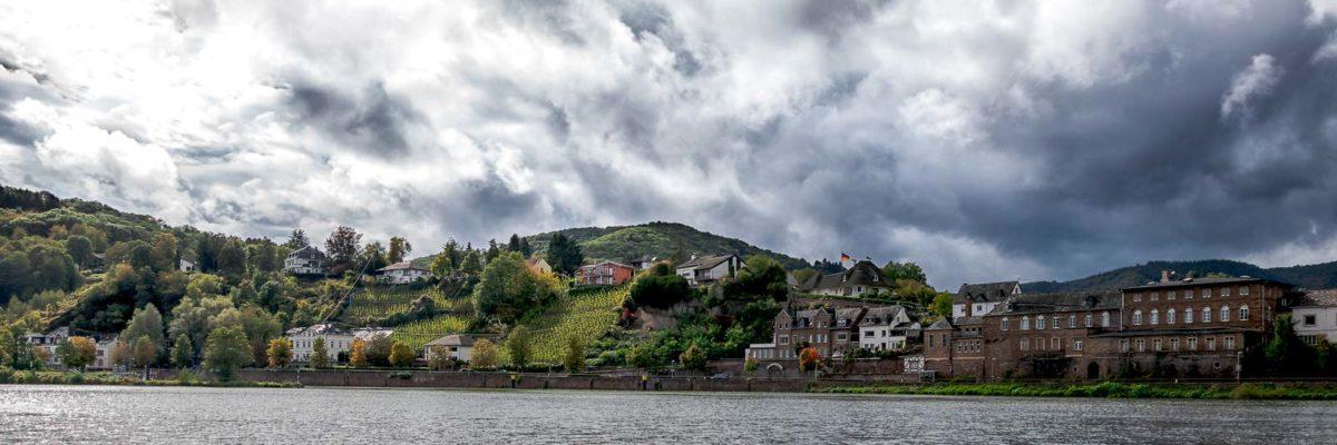 Im Vordergrund fließt der Fluss Mosel. Die Alfer Hoelle ist ein Weinberg der sich in den Ort Alf einfügt. Der Weinberg liegt an einem Hang zwischen Häusern am Ufer des Flusses. Der Himmel ist stark bewölkt.