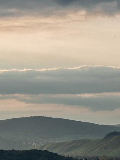 Von der Burg Landshut aus blickt man am späten Abend in das Moseltal hinein. Rechts erkennt man den Weinberg Kueser Weisenstein. In der Mitte des Bildes befinden sich die Weinberge Braunberger Juffer und Brauneberger Juffer Sonnenuhr. Daneben und dahinter liegen weitere Weinberge und bewaldete Hügel. Am sanften leicht rosa gefärbten sowie dezent blauen Himmel sind Wolken.
