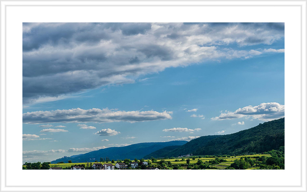 Weinberg Deidesheimer Reiterpfad in der Pfalz mit Bergen, Wald und Wolken; Das Bild hat einen weißen Holzrahmen mit weißem Passepartout.