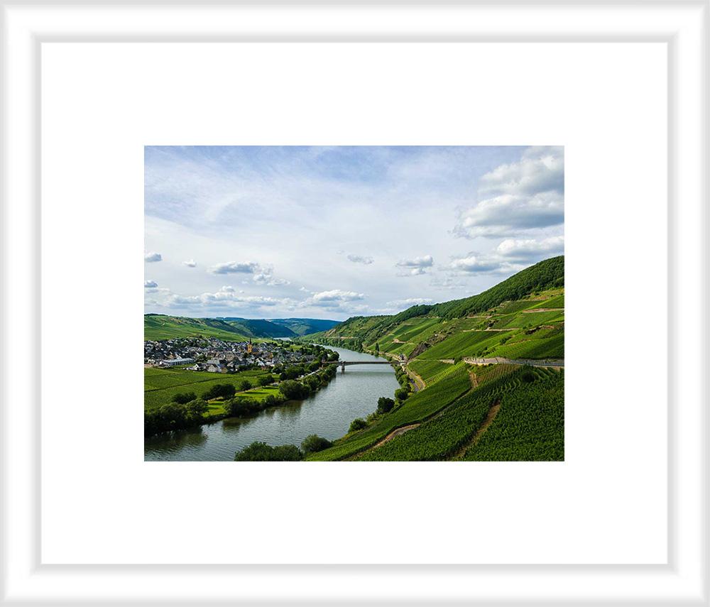 Bild mit weißem Holzrahmen und Passepartout: In der Mitte fließt der Fluss Mosel. Über all sind Weinberge. Am linken Ufer liegt der Ort Trittenheim.