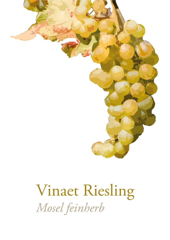 Das Frontetikett des Vinaet Riesling Mosel feinherb beinhaltet eine goldene Traube