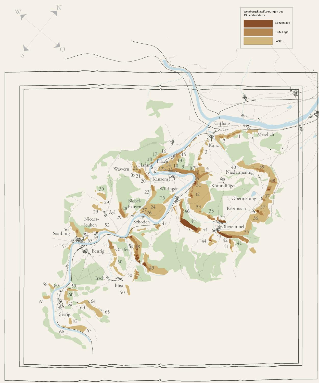 Alte Weinbaukarte der Saar, welche sich an der Klassifikationen des Steuerraths von Clotten im Jahr 1868 orientiert. Diese Version basiert auf der Karte von ca. 1900.