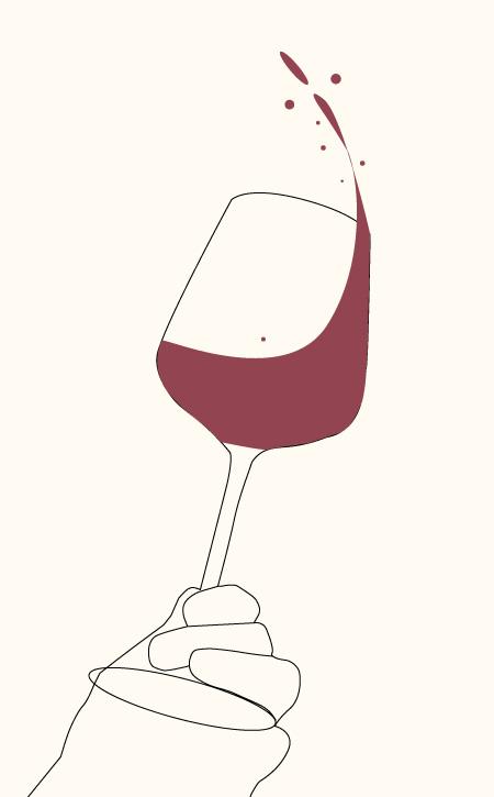 Ein Rotweinglas wird mit Fingern unten festgehalten und geschwenkt.