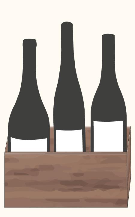 Weinkiste Symbol mit drei Flaschen