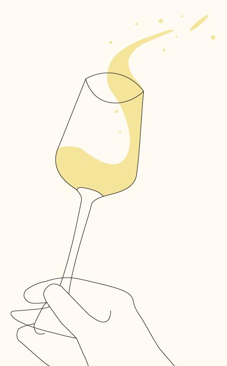 Weißweinglas Symbol für Shop. Das Weinglas wird am Stumpf mit Fingern festgehalten und geschwenkt.