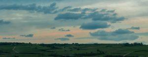 Weinberge bei Bobenheim am Berg mit Wolken am Himmel.