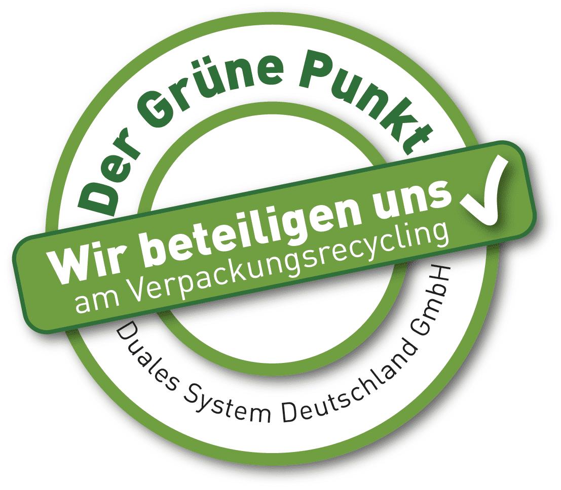 Der Grüne Punkt Logo in grüner und weißer Farbe