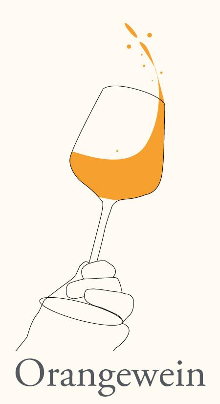 Orangewein in Glas wird geschwenkt. Es ist eine illustrierte Grafik.