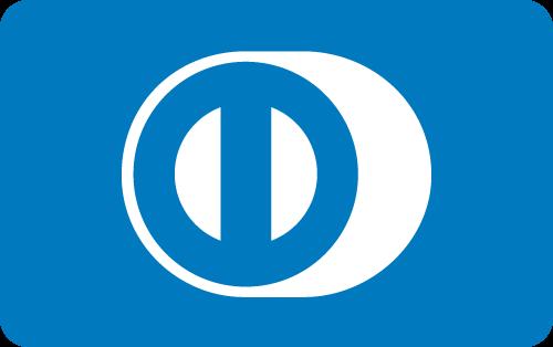Diners Card Logo in weißer und blauer Farbe