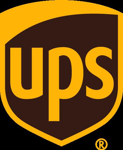 Das UPS Logo in braun und gelb