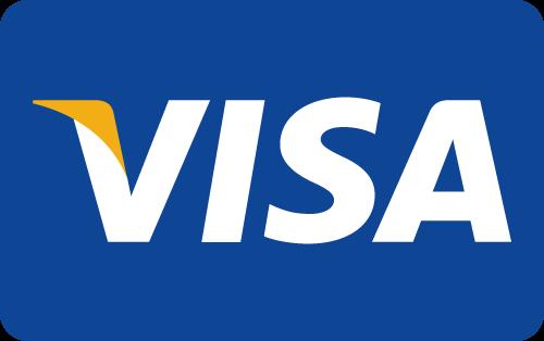 Visa Logo weiße Schrift mit etwas gelb links auf blauem Hintergrund