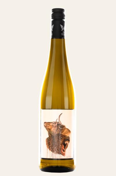 Vinventure Philipp Pieroth Weißburgunder trocken art edition 2019 in gelber Weinflasche mit hellem Etikett, auf dem ein Bär und und Bulle erkennbar sind.