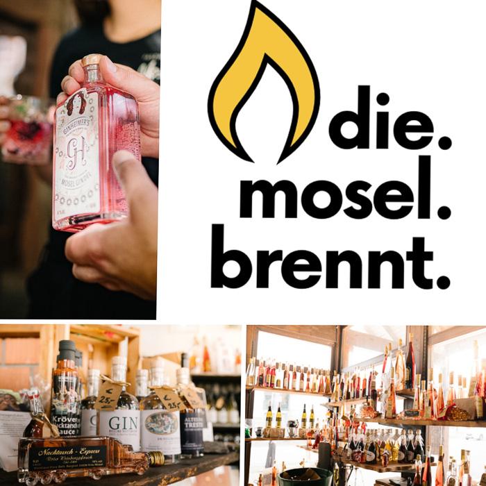 Brennertag entlang der Mosel und im Weinanbaugebiet Mosel mit Bildern von Gin und Logo